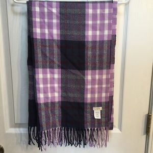 J Crew Purple Blue Plaid Blanket Scarf